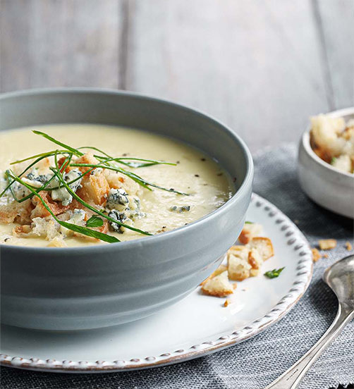Caramelised leek & potato cheese soup