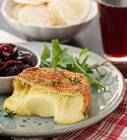 Warm crumbed Camembert with spicy beetroot