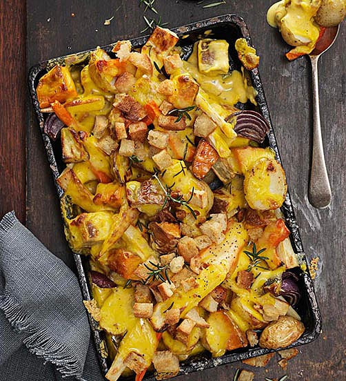 Colby winter root vegetable gratin