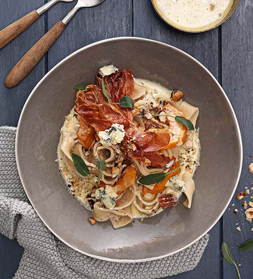 Creamy Blue Cheese and pumpkin pappardelle