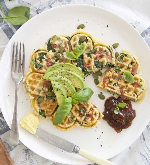 Swiss cheese, Ham and Spinach Waffles