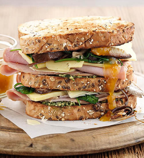 Ham, cheese and wild mushroom toastie