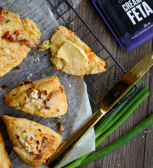 Feta and bacon scones