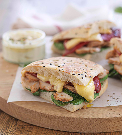Chicken & roasted pepper panini