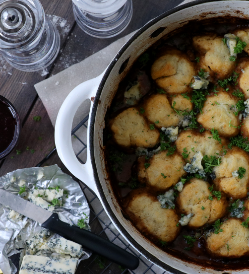 Rich Beef Stew with Creamy Blue Cheese Dumplings